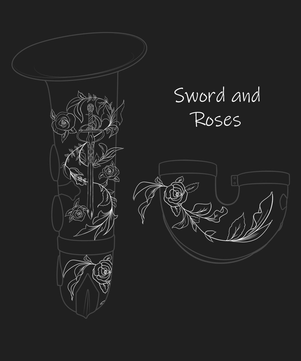 Sword and Roses Premium Engraving
